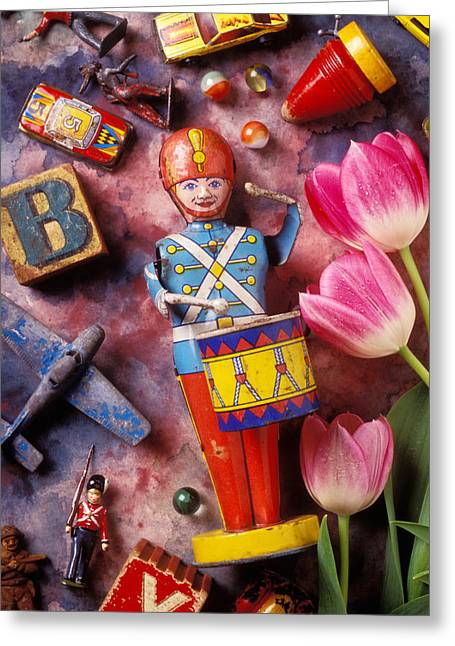 Drummers Photographs Greeting Cards - Old childrens toys Greeting Card by Garry Gay