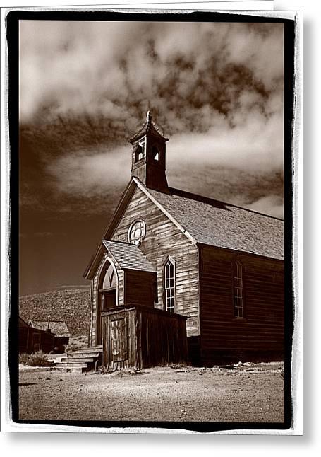 Black Church Greeting Cards - Old Church In Bodie California Greeting Card by Steve Gadomski