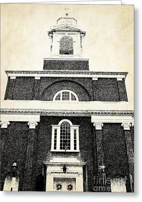 Vintage House Greeting Cards - Old Church in Boston Greeting Card by Elena Elisseeva