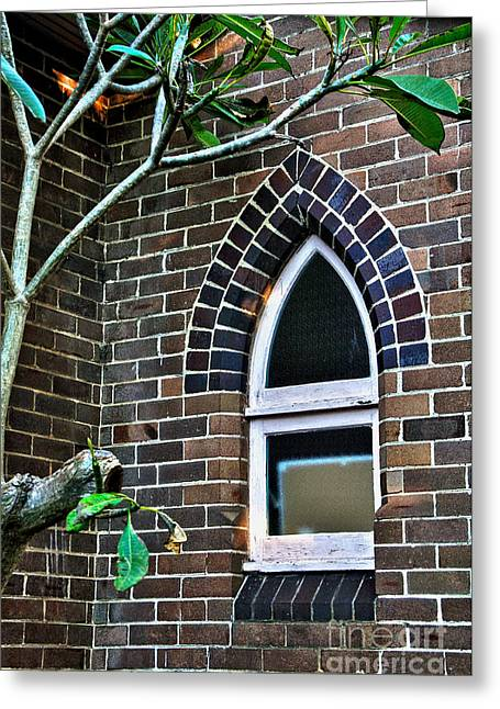 Weathered Paint Greeting Cards - Old Church Window Greeting Card by Kaye Menner