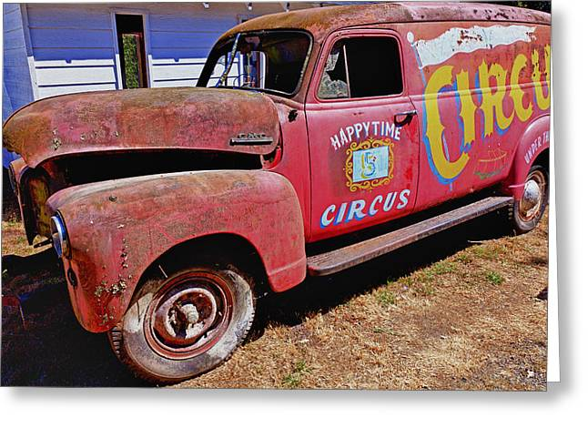 Rubbish Greeting Cards - Old circus truck Greeting Card by Garry Gay