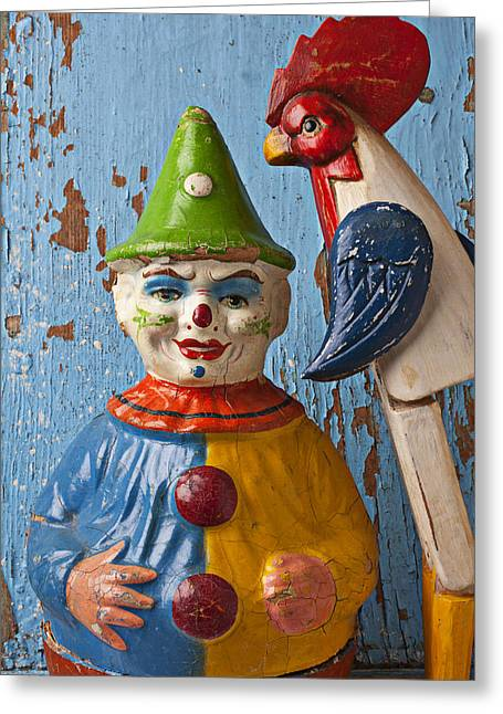 Clown Greeting Cards - Old Clown and Roster Greeting Card by Garry Gay