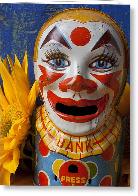 Old Face Greeting Cards - Old Clown Bank Greeting Card by Garry Gay