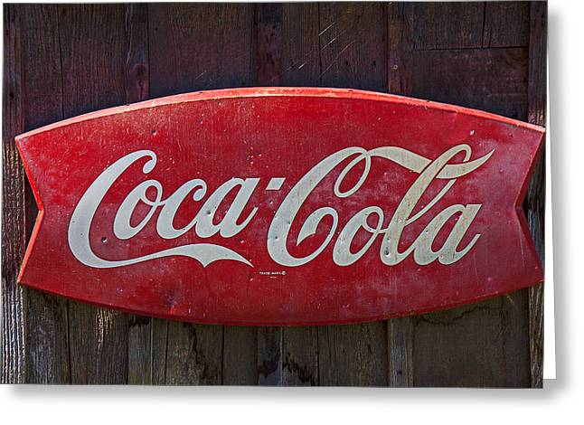 Coca-cola Sign Greeting Cards - Old Coca-Cola sign on barn Greeting Card by Garry Gay