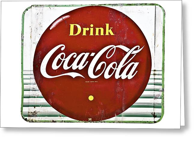 Old Coke Sign Greeting Card by Susan Leggett