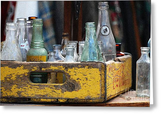 Collectible Mixed Media Greeting Cards - Old Collector Bottles Greeting Card by AdSpice Studios