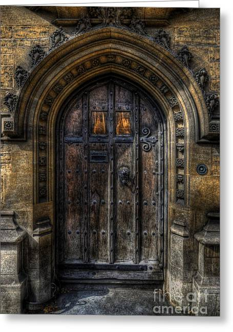 Old Door Greeting Cards - Old College Door - Oxford Greeting Card by Yhun Suarez