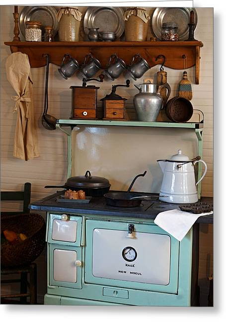 Old Crocks Greeting Cards - Old Cook Stove Greeting Card by Carmen Del Valle
