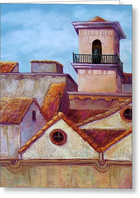 Red Buildings Pastels Greeting Cards - Old Cordoba Greeting Card by Candy Mayer