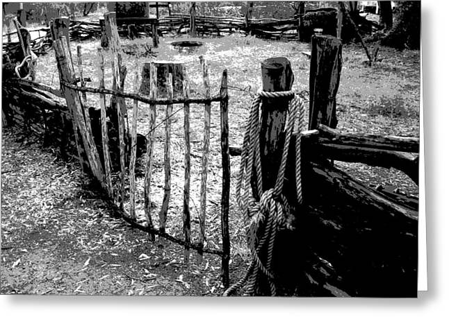 Corral Greeting Cards - Old Corral Greeting Card by Sandy Tracey