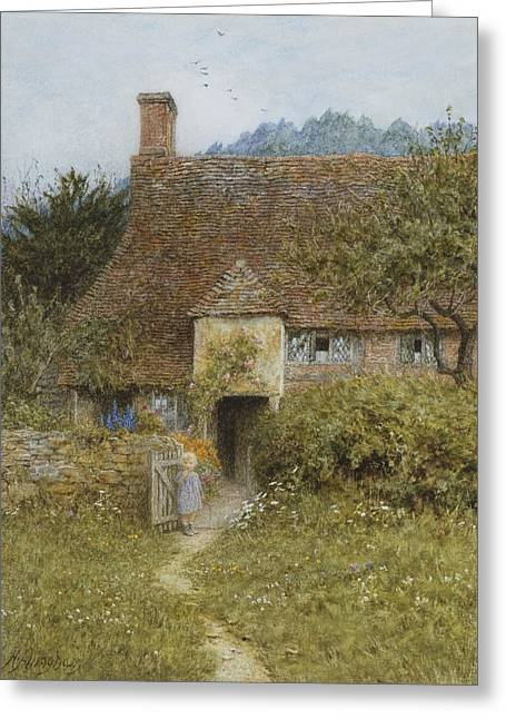 Rural Greeting Cards - Old Cottage Witley Greeting Card by Helen Allingham