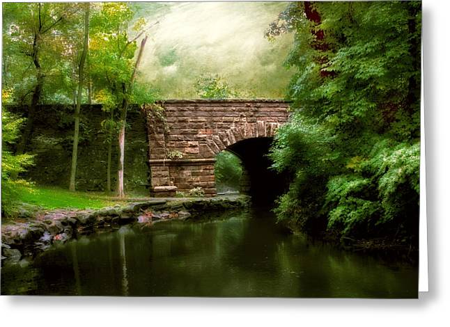 Old Countrybridge Green Art Greeting Cards - Old Country Bridge Greeting Card by Jessica Jenney