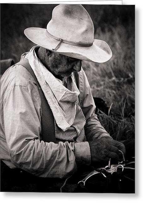 Western Photographs Greeting Cards - Old Cowboy Greeting Card by Toni Hopper
