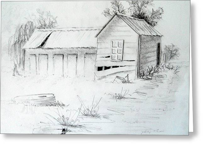 Bale Drawings Greeting Cards - Old Dairy Greeting Card by Carol McLagan