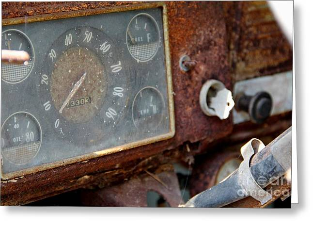 Fuel Gauge Greeting Cards - Old Dashboard Greeting Card by Pauline Ross