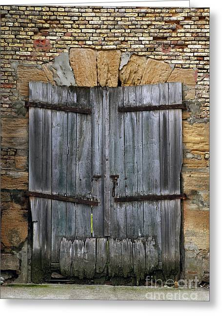 Lock Down Greeting Cards - Old derelict wooden door Greeting Card by Richard Thomas