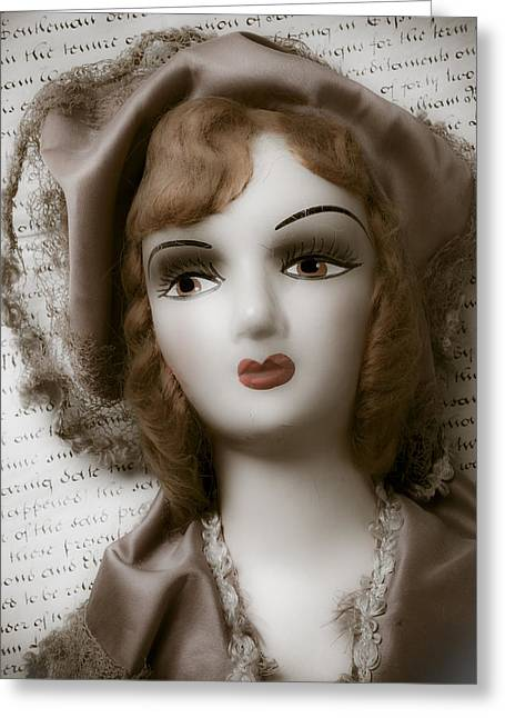 Doll Photographs Greeting Cards - Old doll on old letter Greeting Card by Garry Gay