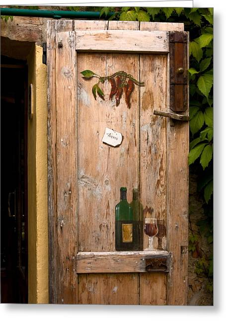 Aberto Photographs Greeting Cards - Old Door and Wine Greeting Card by Sally Weigand