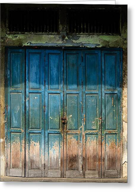 Town Walls Greeting Cards - old door in China town Greeting Card by Setsiri Silapasuwanchai