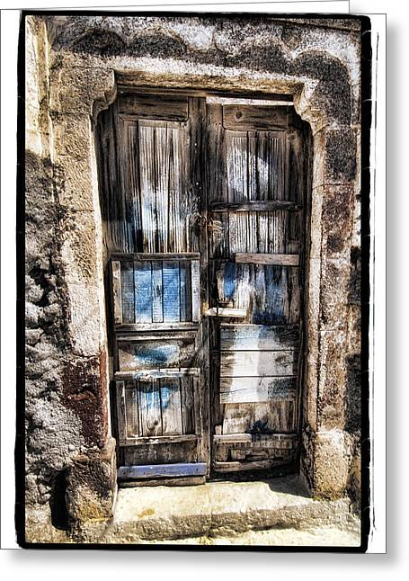 Metal Pyrography Greeting Cards - Old Door Greeting Card by Mauro Celotti