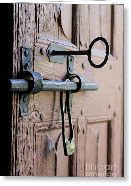 French Door Greeting Cards - Old door of wood with its worn lock Greeting Card by Bernard Jaubert