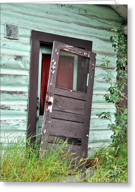 Old Cabins Greeting Cards - Old Door on Rustic Alaska Cabin Greeting Card by Gary Whitton