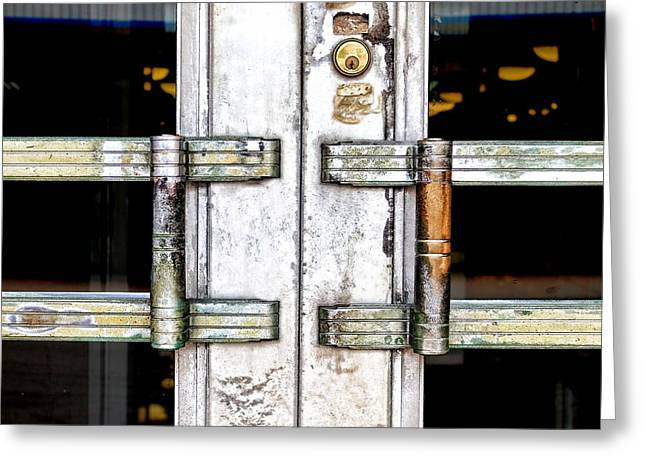 Glass Wall Greeting Cards - Old Door Greeting Card by Rudy Umans