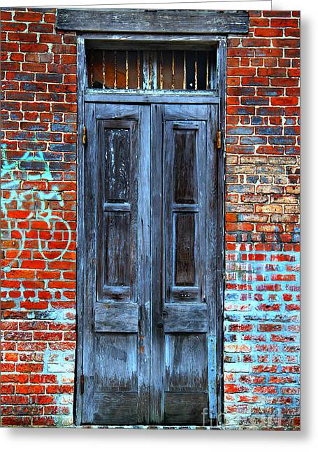 French Doors Greeting Cards - Old Door With Bricks Greeting Card by Perry Webster