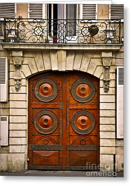 Wooden Sculpture Greeting Cards - Old doors Greeting Card by Elena Elisseeva