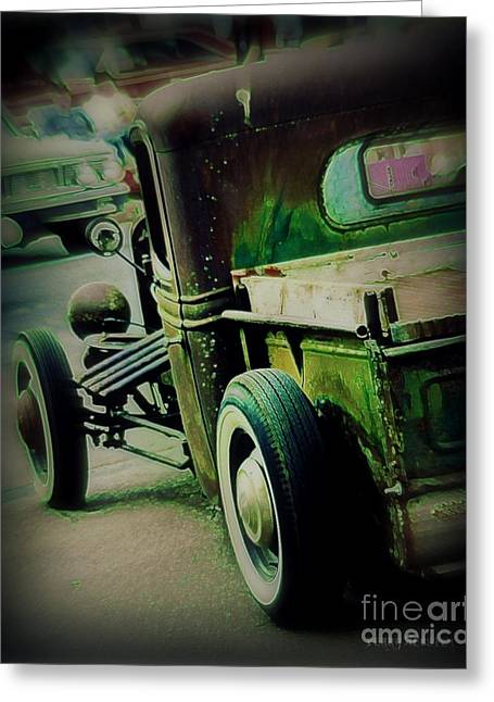 Red Street Rod Greeting Cards - Old Drive Greeting Card by Perry Webster