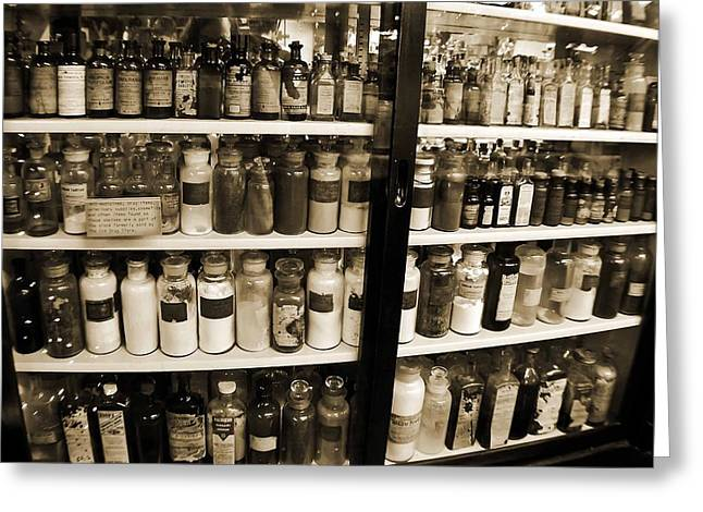 Vicky Browning Greeting Cards - Old Drug Store Goods Greeting Card by DigiArt Diaries by Vicky B Fuller