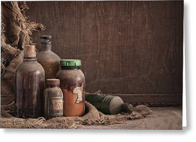Concept Photographs Greeting Cards - Old Dusty Bottles Still Life 1 Greeting Card by Matusciac Alexandru