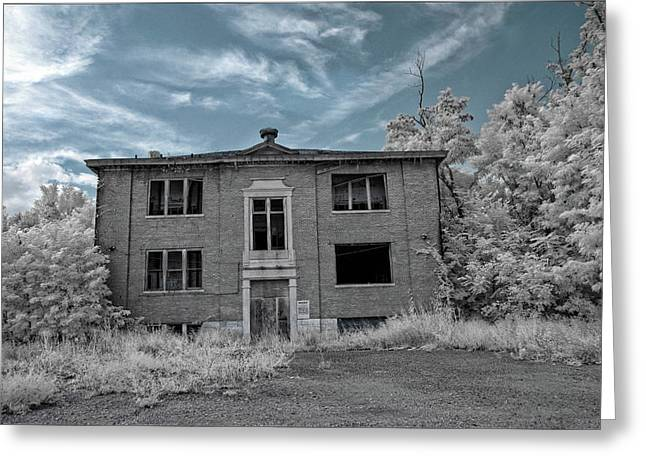 Haunted Schools Greeting Cards - Old Edmonton High School IR 2 Greeting Card by Amber Flowers