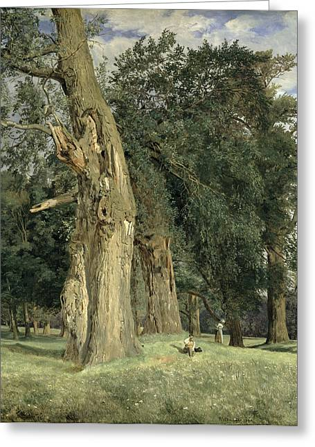 Old Tree Greeting Cards - Old elms in Prater Greeting Card by Ferdinand Georg Waldmuller