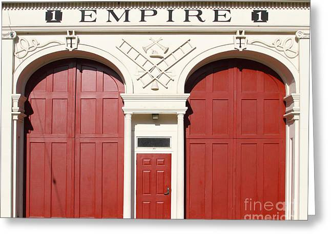 House Fires Greeting Cards - Old Empire Fire House Number One . San Jose California . 7D13016 Greeting Card by Wingsdomain Art and Photography