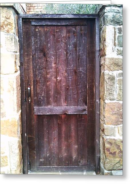 Old English Door Greeting Card by Shawn Hughes