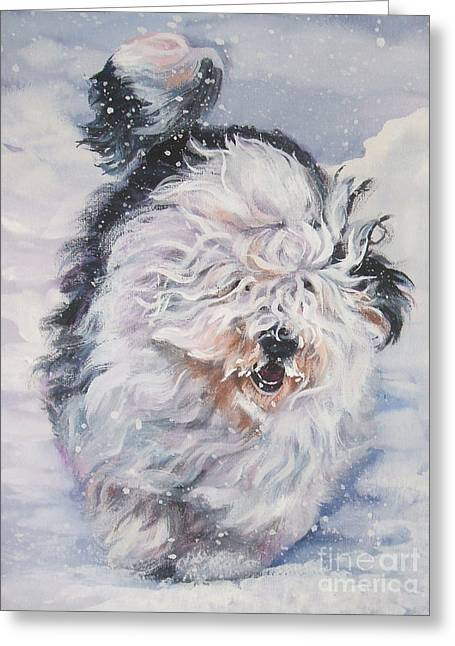 Oes Greeting Cards - Old English Sheepdog  Greeting Card by L A Shepard