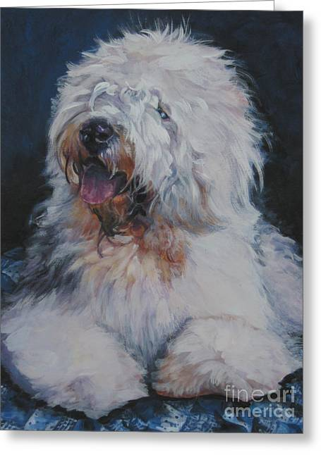 Oes Greeting Cards - Old English Sheepdog Greeting Card by Lee Ann Shepard