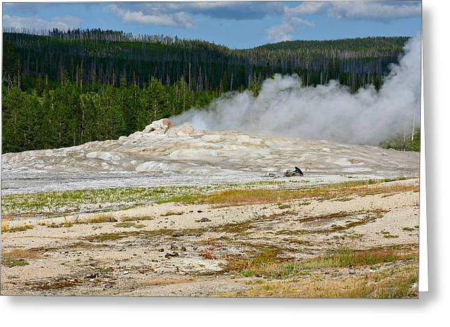 Steaming Greeting Cards - Old Faithful - An American Icon in Yellowstone National Park WY Greeting Card by Christine Till