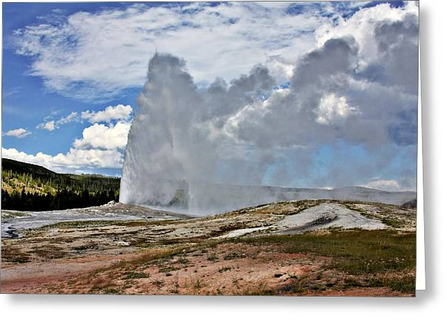 Basin Park Greeting Cards - Old Faithful Geyser eruption Yellowstone National Park WY Greeting Card by Christine Till