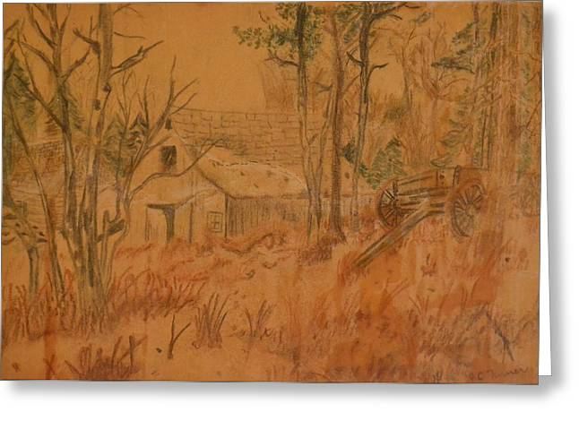 Old Barn Drawing Greeting Cards - Old Farm Greeting Card by Carman Turner