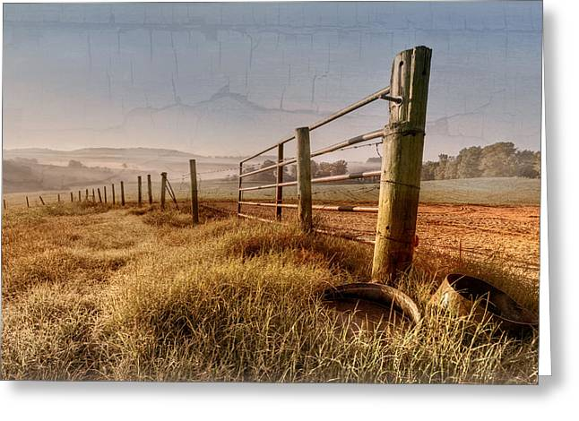 Fenceline Greeting Cards - Old Farm Gate  Greeting Card by Debra and Dave Vanderlaan