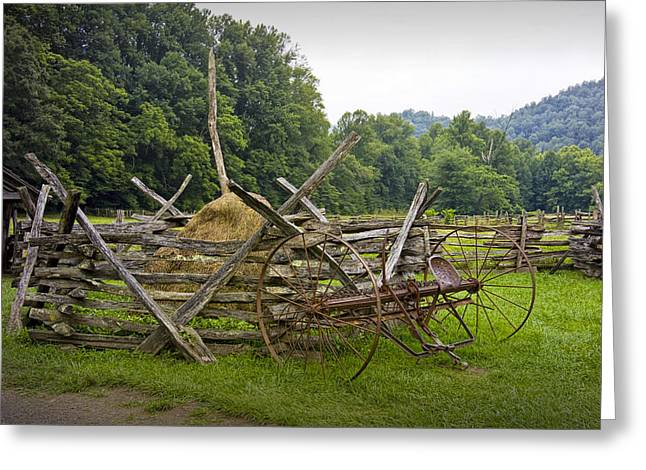 Split Rail Fence Greeting Cards - Old Farm Machinery and Split Rail Fence on a Farm in the Smokey Mountains Greeting Card by Randall Nyhof