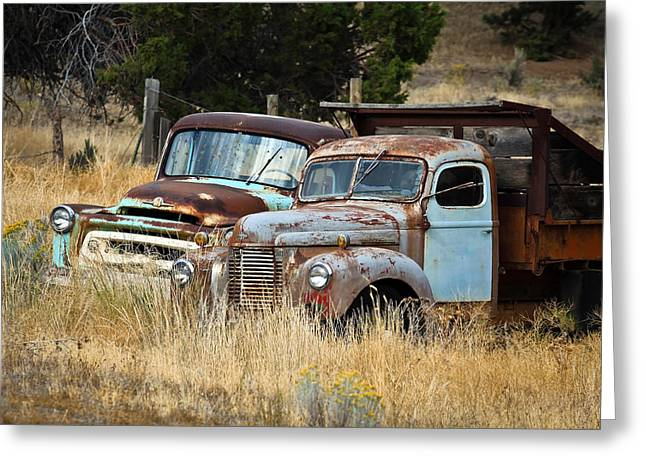1949 Plymouth Greeting Cards - Old Farm Trucks Greeting Card by Steve McKinzie
