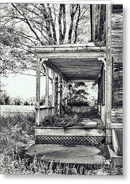 Lattice Greeting Cards - Old Farmhouse Porch Greeting Card by HD Connelly