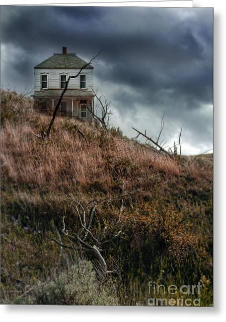 Old Farmhouse With Stormy Sky Greeting Card by Jill Battaglia