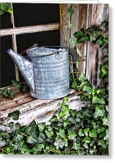 Sprinkling Can Greeting Cards - Old fashioined Sprinkling Can 1 Greeting Card by Linda Phelps