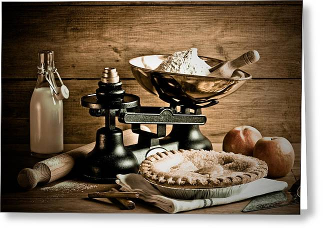 Apple Pie Greeting Cards - Old Fashioned Apple Pie Dessert Greeting Card by Amanda And Christopher Elwell