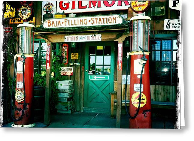 Nina Prommer Greeting Cards - Old Fashioned Filling Station Greeting Card by Nina Prommer