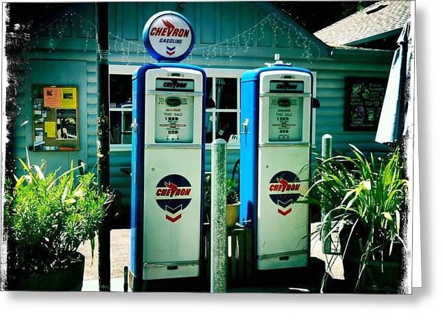 Nina Prommer Greeting Cards - Old Fashioned Gas Station Greeting Card by Nina Prommer